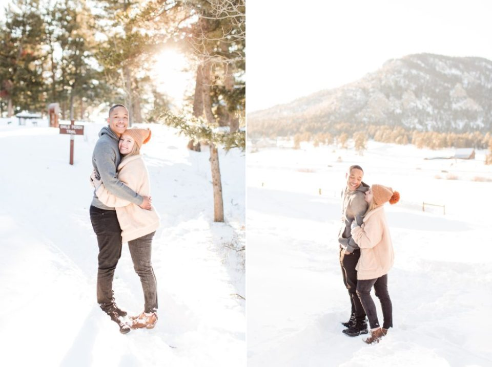 Winter engagement session locations in Denver Colorado.