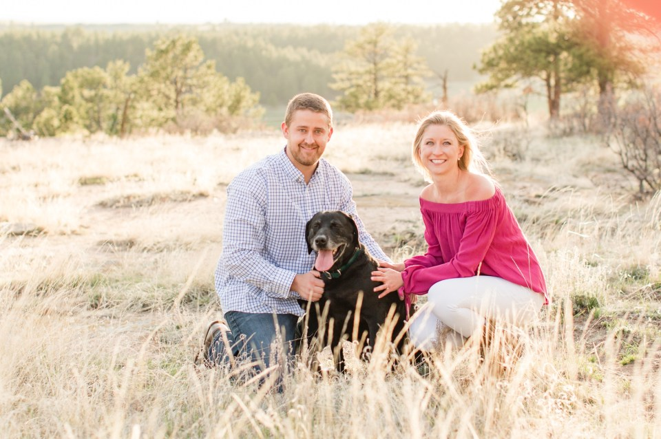 Colorado engagement session at Castlewood state park with dog.