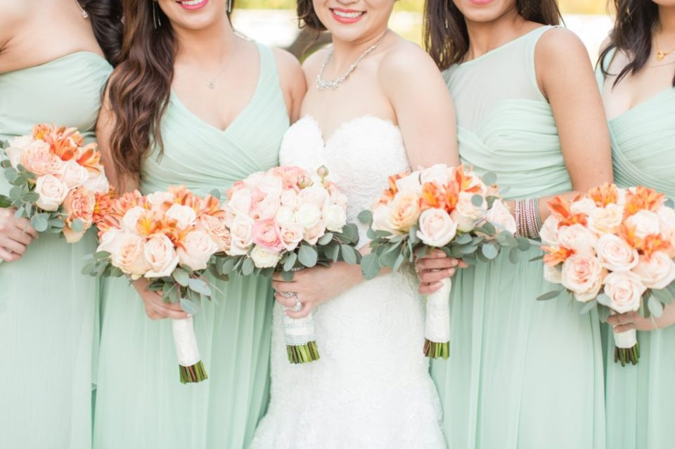 Peach and mint spring wedding at Orange County California.