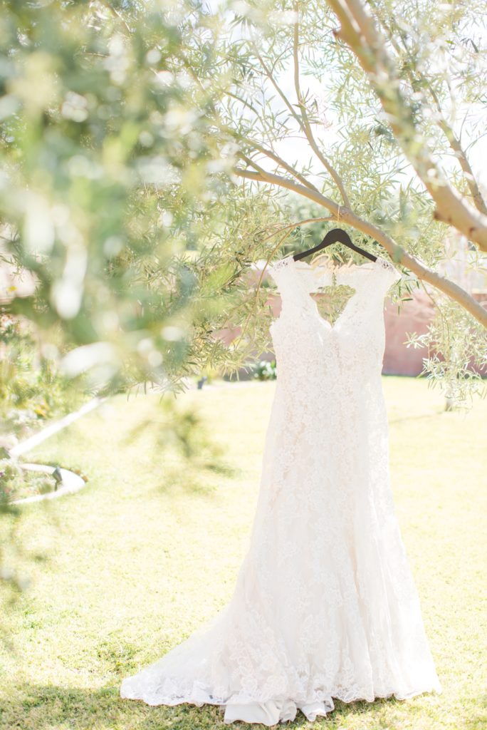 Mori Lee wedding dress handing in a tree