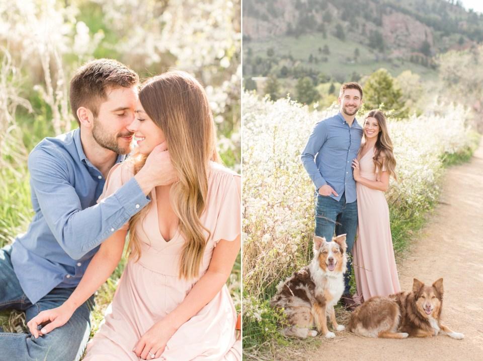 Engagement session with two Australian shepherd dogs. Chautauqua park boulder Colorado engagement session