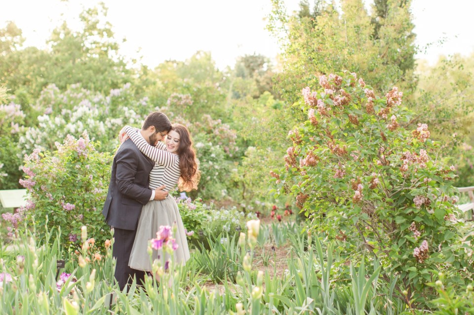 Spring engagement session at the Denver Botanical Gardens by Colorado wedding photographer Theresa Bridget Photography. Bride and groom in a field of spring blooms in Coloraod.