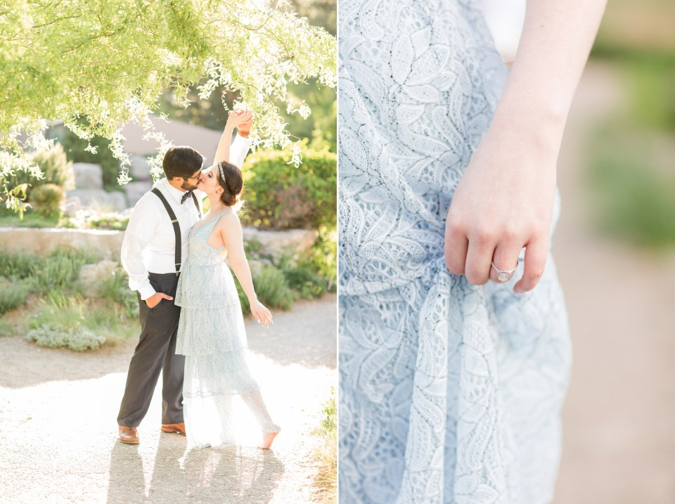 Cinderella inspired engagement outfit in Denver Colorado. Vintage bride and groom with a classic look.