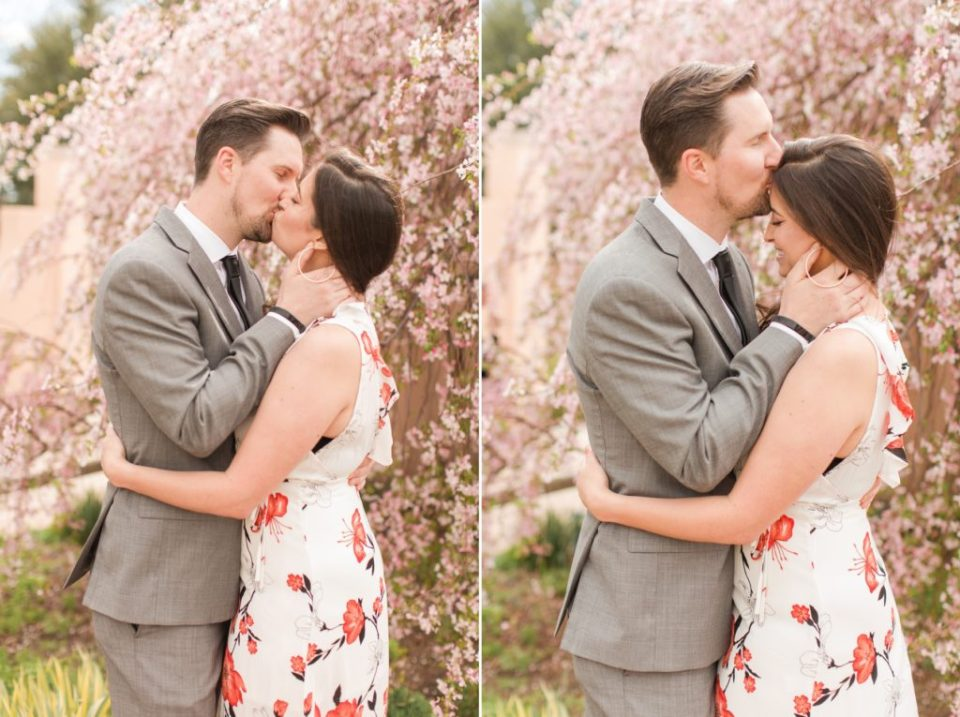 Bride and groom engagement session at Denver Botanical garden in cherry blossom