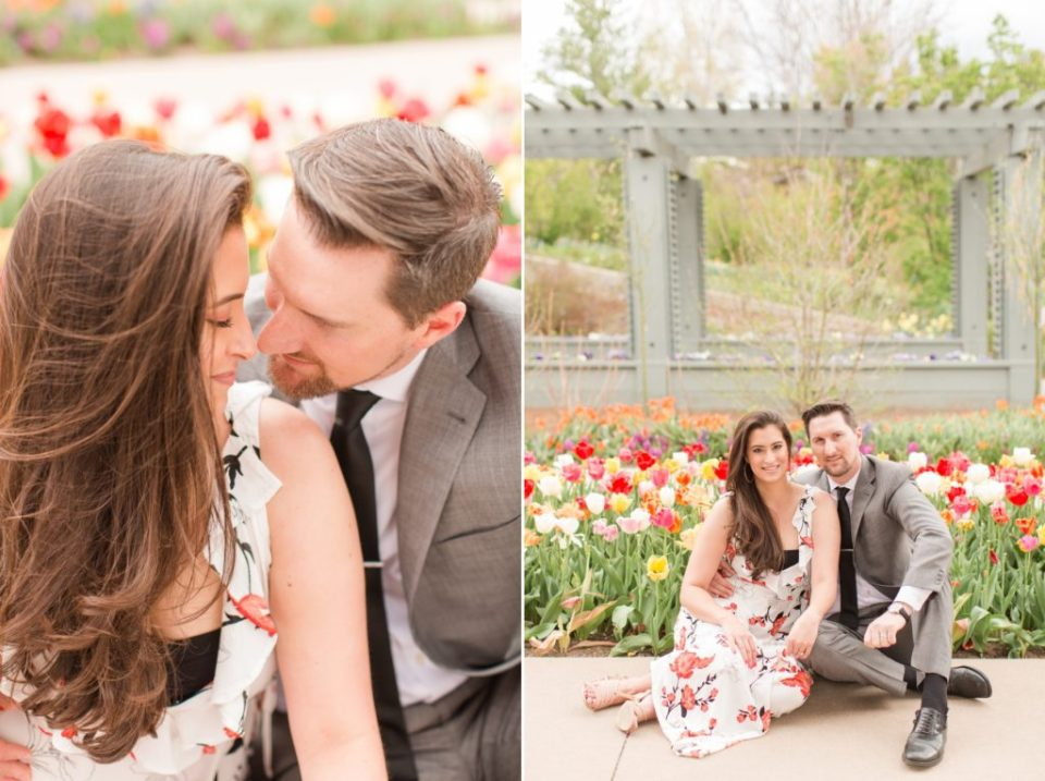 Bride and groom in tulip field at Denver Botanical Garden/