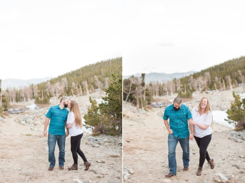Colorado mountain engagement session in Idaho Springs. Couple walking in the mountains.
