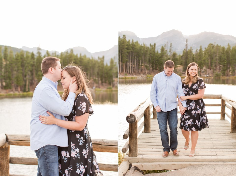 Engagement photos at Sprague lake in Rocky Mountain National Park in September. Floral torrid dress engagement session outfit.