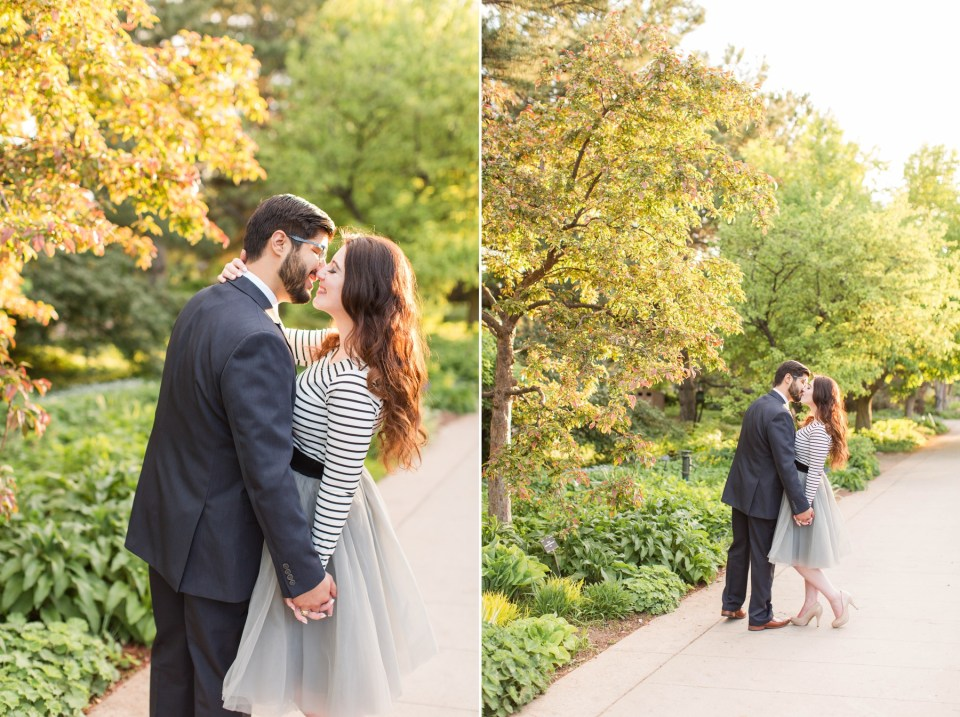 Denver Botanical Garden engagement session in a french inspired outfit. Tule grey skirt paired with nude heals and stripped top.