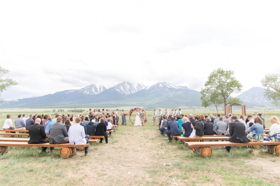 The barn at sunset ranch wedding venue with mountain views in Buena Vista Colorado.