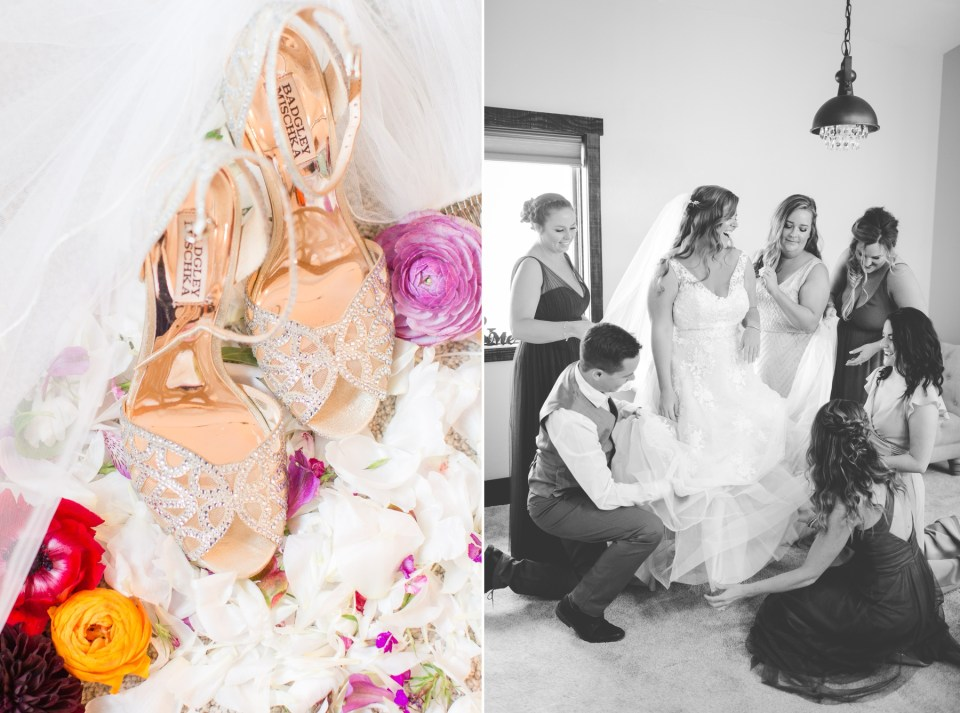 Sparkly Biska Mielke wedding shoes in gold. Colorado wedding photographer Theresa Bridget photography.