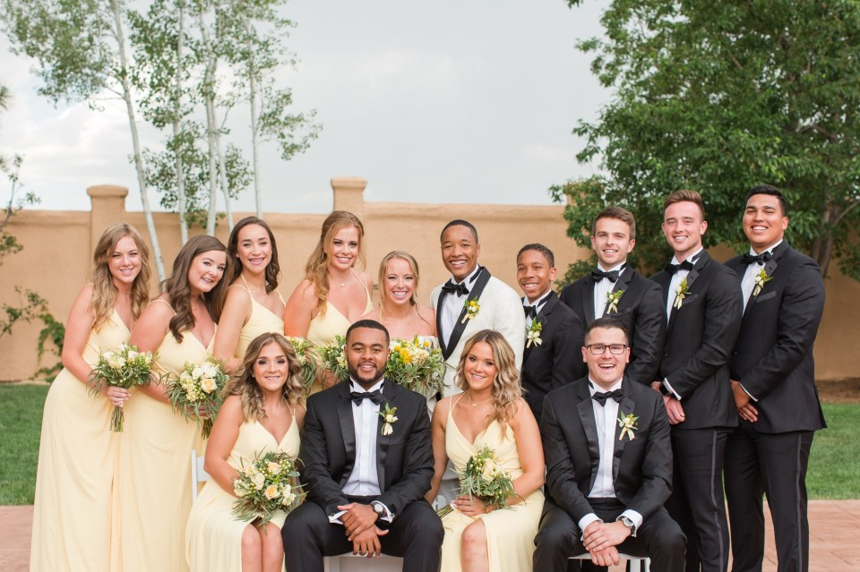 Large wedding party posing ideas by Colorado wedding photographer Theresa Bridget Photography.