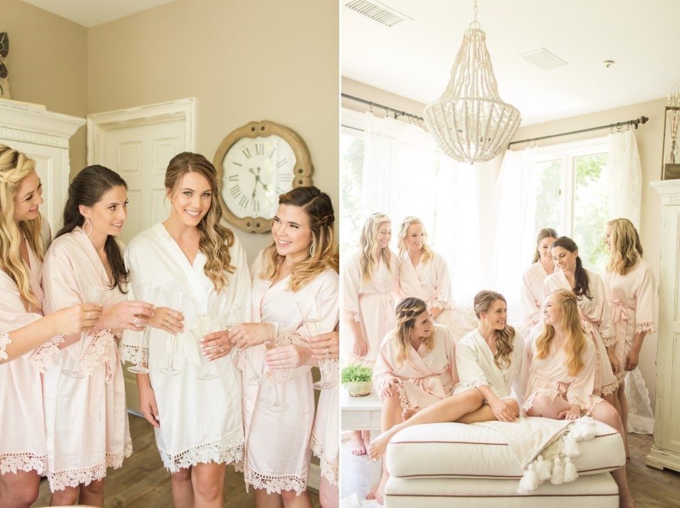 Bride sitting with bridesmaids on a wedding morning. Coto De Caza wedding.