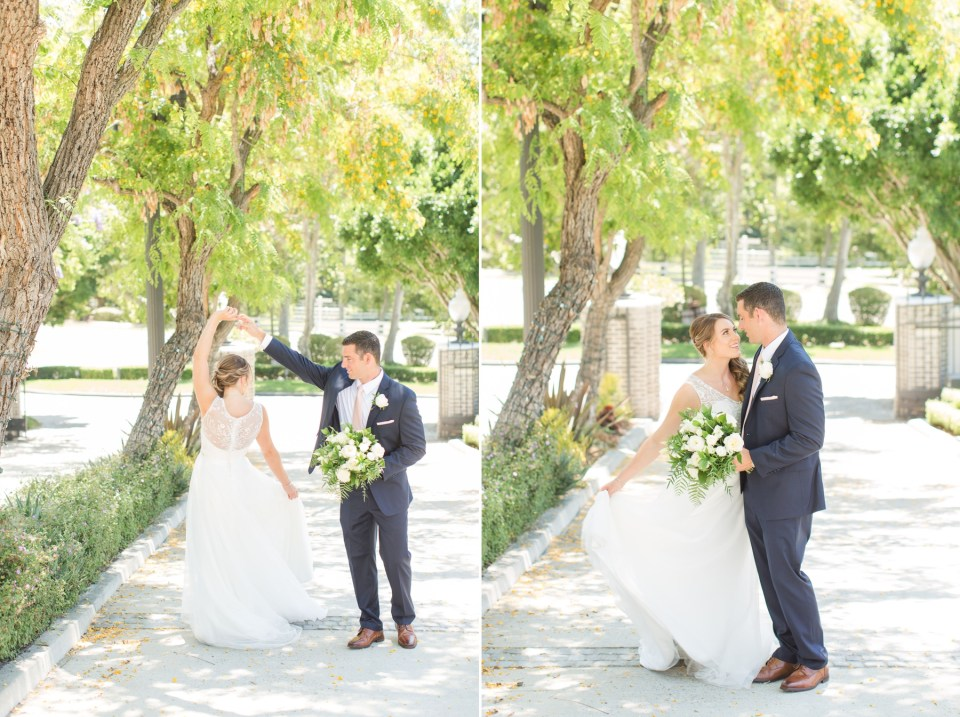 Bride and groom wedding day poses that look flattering and natural. Coto Valley County Club wedding in Coto De Caza California.