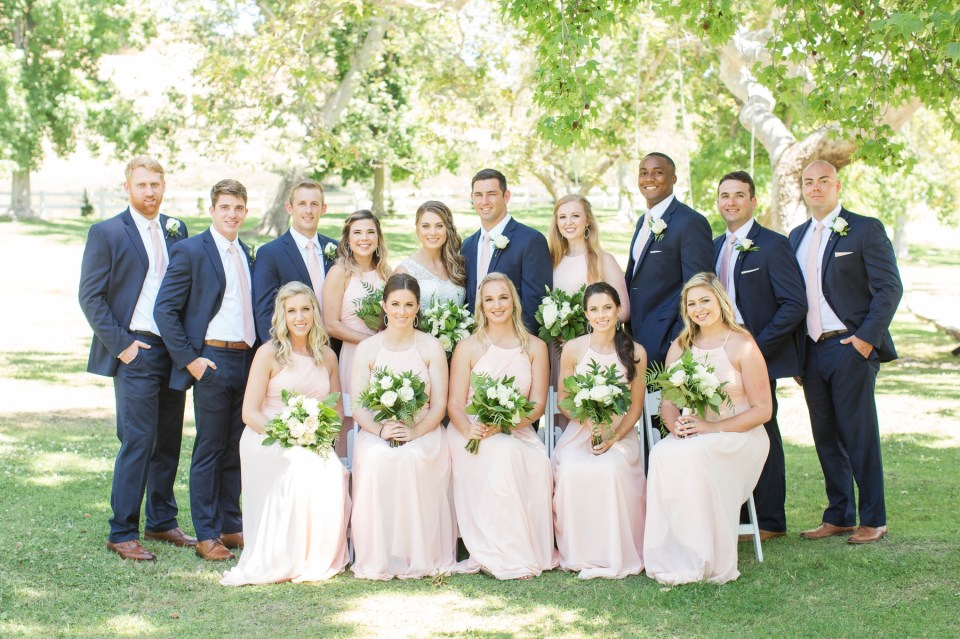 Coto Valley Country Club summer wedding with a clean and elegant style. Classic whites, greenery and a bride in a lace wedding dress.