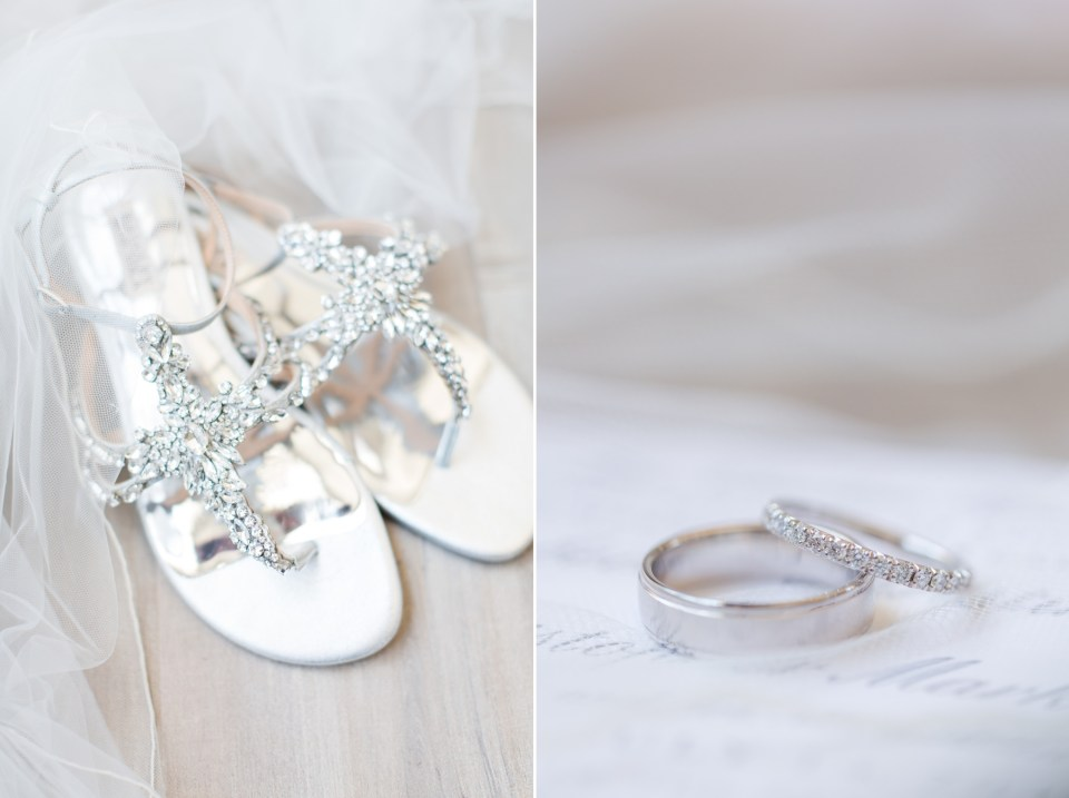 Silver Bandgley Mischka wedding flats with jewels on the front of them.