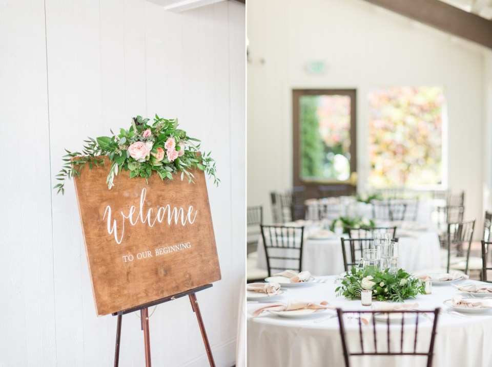 Modern farmhouse inspired wedding reception with shiplap walls and white tables.
