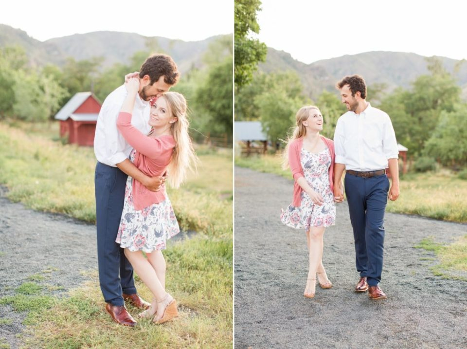 Couple at Golden History park in Golden Colorado for an engagement session.