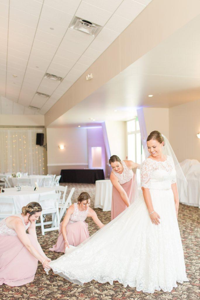 Bride getting ready at Ken Caryl Wedgewood Colorado wedding.