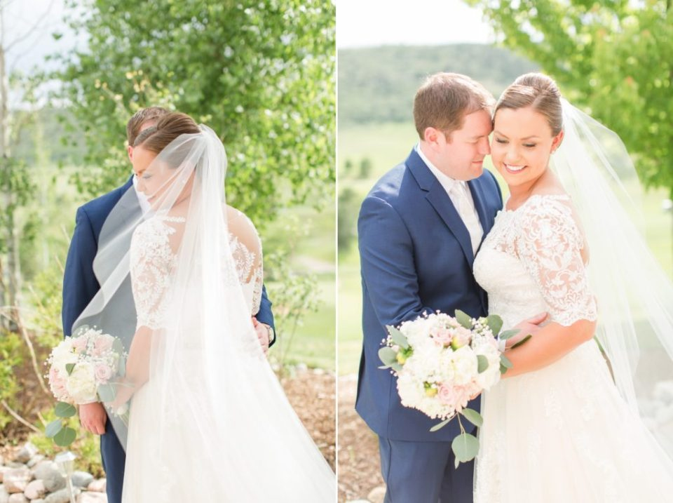 Colorado wedding photographer. Bride and groom at Ken Caryl Wedgewood wedding venue.