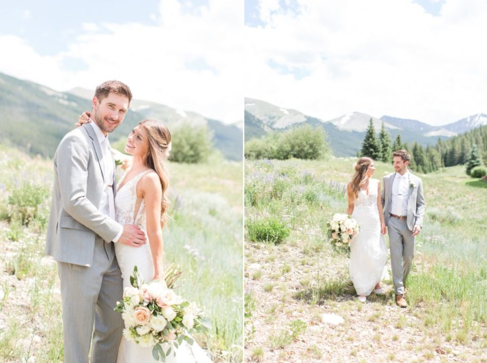 Bride and groom walking in a field at Copper Mountain in Colorado.