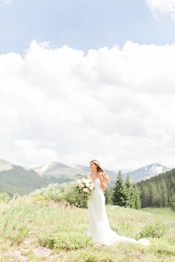 Portrait of a bride at the Copper Mountain wedding resort. Colorado wedding photographer Theresa Bridget Photography.