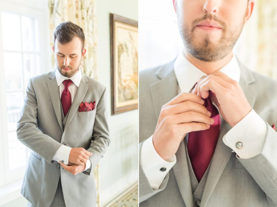 Groom getting ready in the main hall of the Highland Ranch mansion