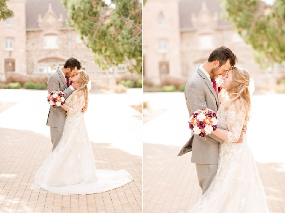 Bride and groom in the walkway of Highlands Ranch Mansion in Colorado. Colorado fall wedding just outside of Denver Colorado.