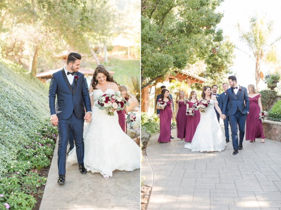 Candid wedding party image at Pala Mesa Resort in Fallbrook California