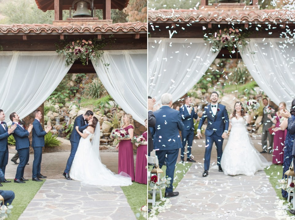 Bride and groom walking down the aisle with confetti falling around them. Colorado wedding photographer Theresa Bridget Photography