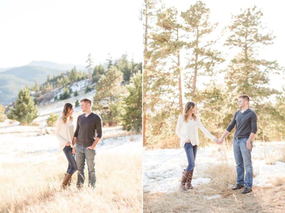 Mt Falcon engagement session in Jefferson county Colorado. Colorado engagement session location ideas.