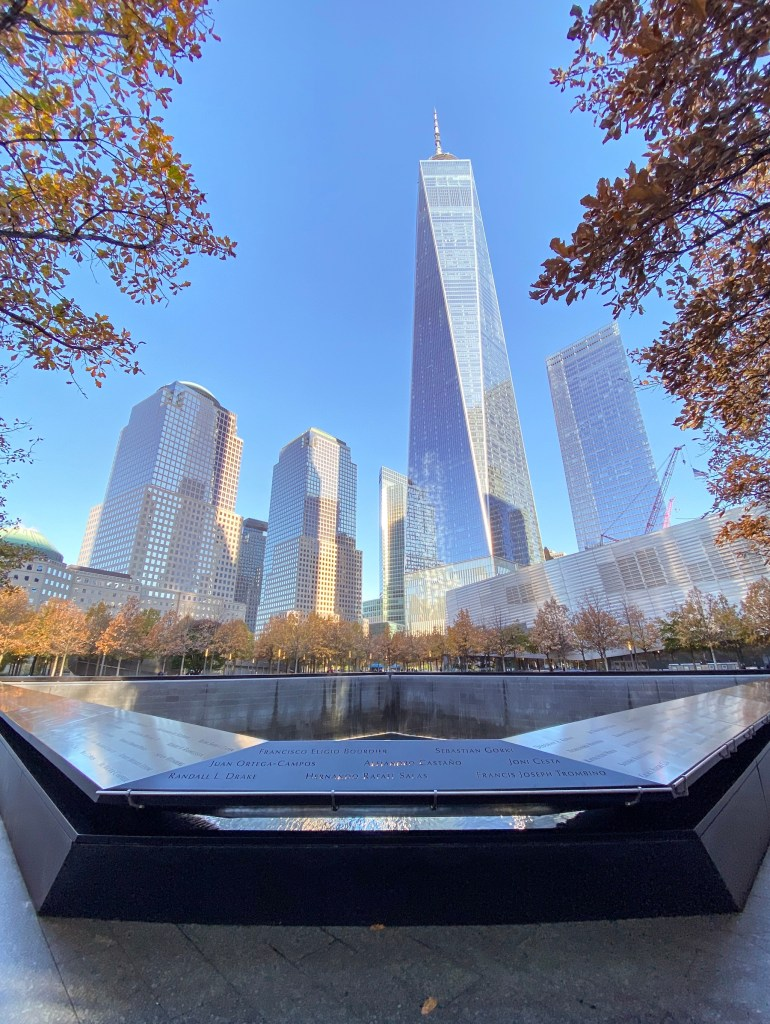 View of One World Tower from the 9/11 memorial reflection pools.