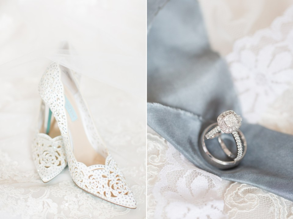 White wedding shoes on a wedding day by Colorado Wedding Photographer Theresa Bridget Photography.
