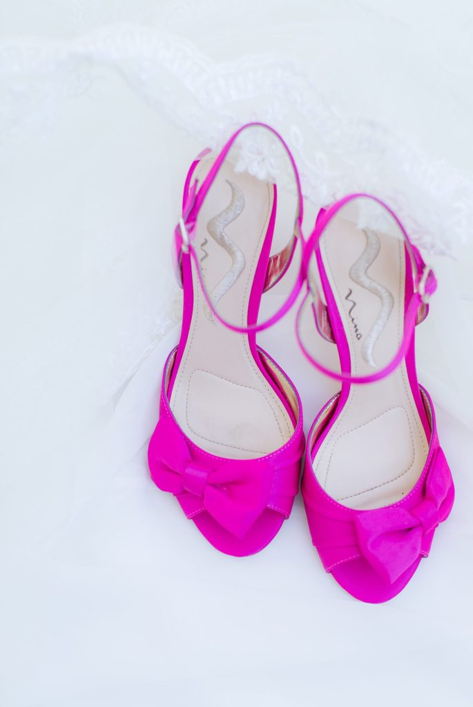 Wedding shoes with a big pop of color.