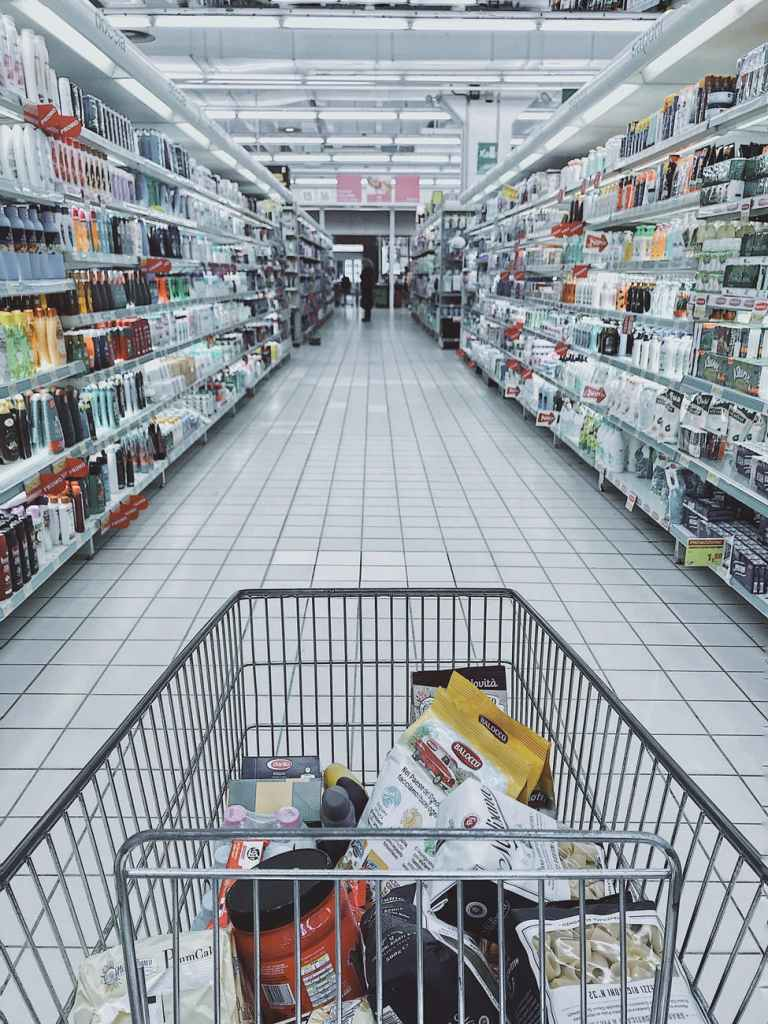 grocery cart with item