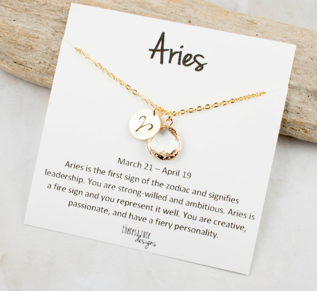 Theresa Rose Designs Aries April Birthstone Gold Necklace