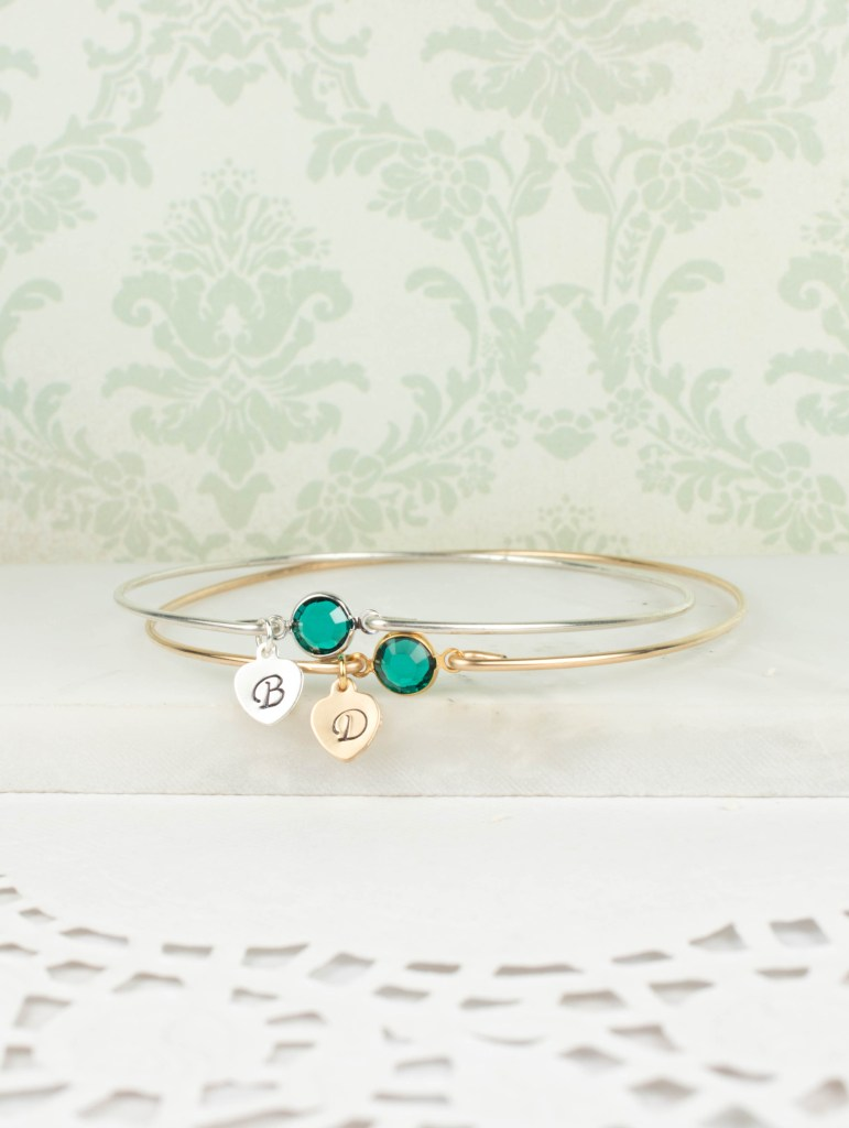 Personalized May Birthstone Bangles