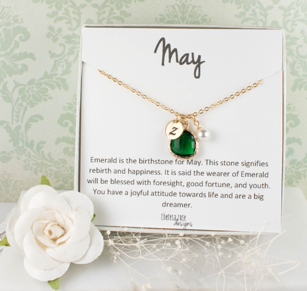 May Birthstone Personalized Gold Necklace