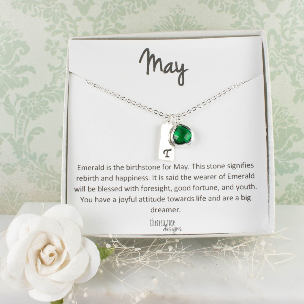 Personalized May Birthstone Silver Necklace