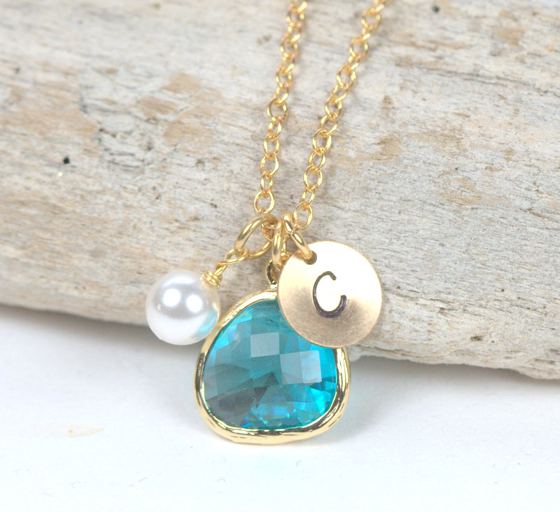 Personalized December Birthstone Gold Necklace