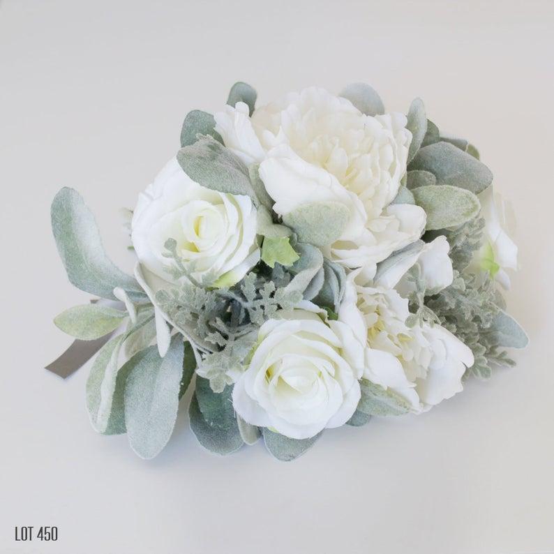 Lot450shop Sage Green and Cream Wedding Bouquet