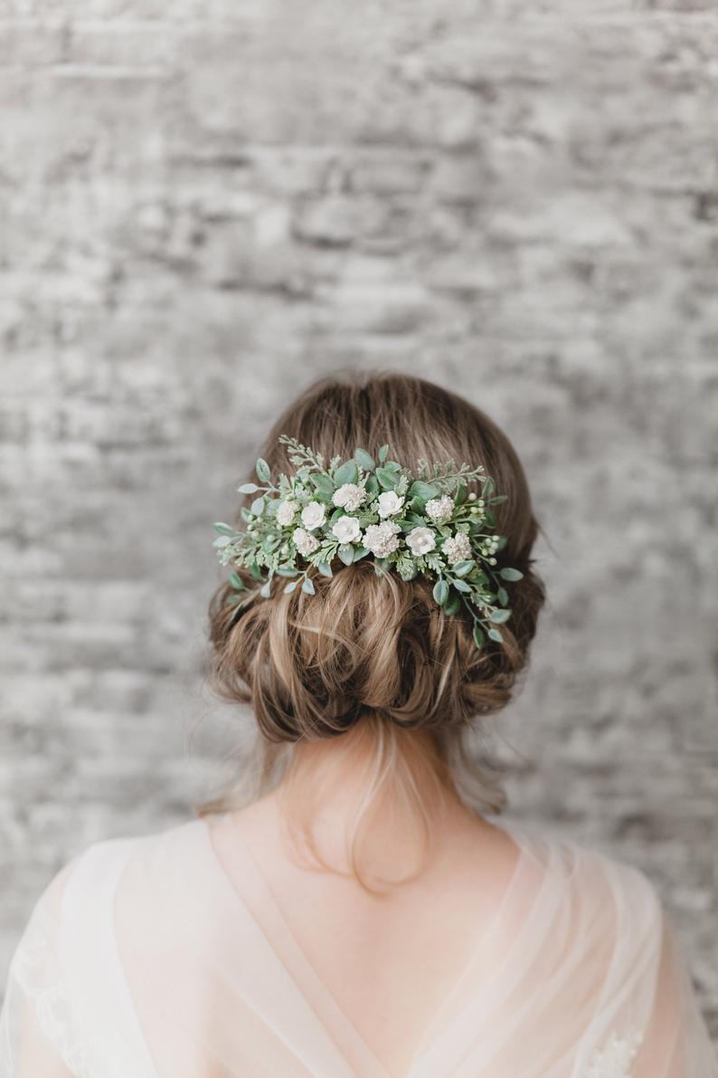 KEDRflo - Sage Green and Ivory Hair Piece