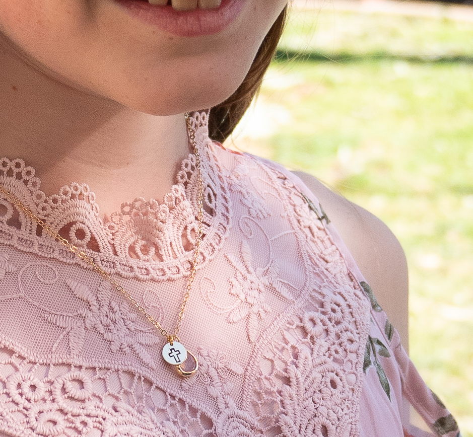 girls cross birthstone necklace