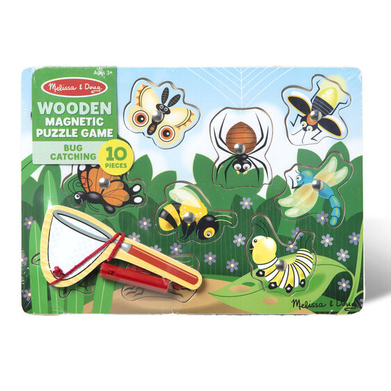 Melissa & Doug Wooden Magnetic Puzzle Game Bug Catching