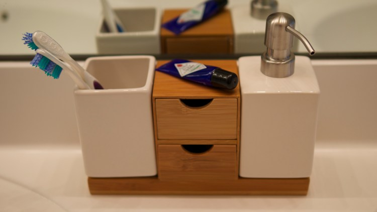 Bathroom Vanity Organization with the ToiletTree Bamboo Soap Dispenser - Theresa's Reviews - www.theresasreviews.com