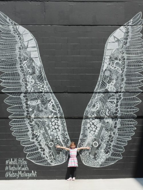 4 Kid-Friendly Places in Downtown Nashville - Angel Wing Mural in the Gulch #WhatLiftsYou #NashvilleGulch - Theresa's Reviews