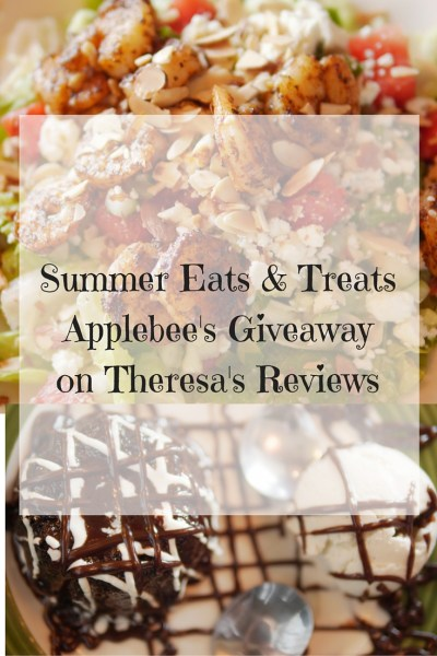 Applebee's debuts a delicious menu of with wood fired grill salads and specialty places along with classic desserts. Enter to win two $50 gift cards there! Found on www.theresasreviews.com. #Giveaway