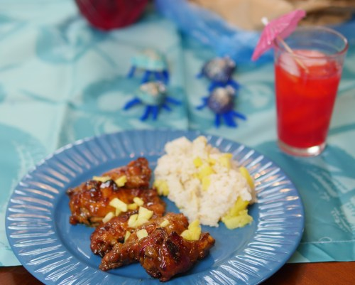 With tropical food, you have so many options! We had incredible teriyaki chicken wings, pineapple rice, and tropical punch.