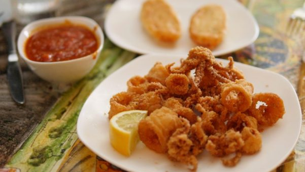 Fried Calamari With Marinara Dipping Sauce At Da Mimmo's - By Theresa's Reviews
