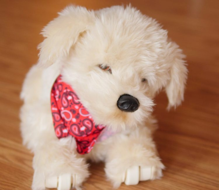 Georgie the Golden Retriever is a cuddly toy that interacts well with children.