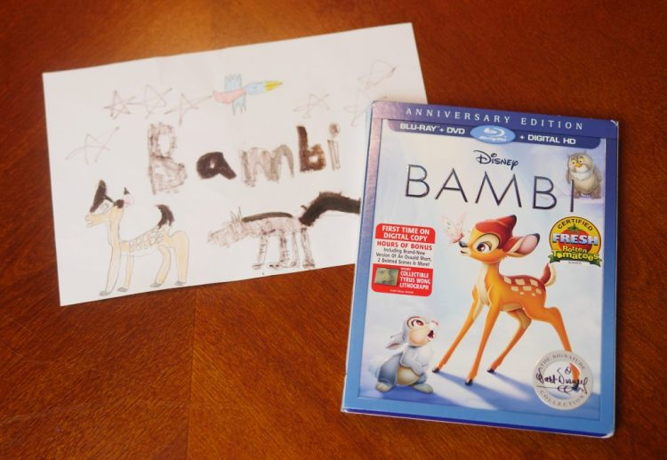 Since my daughter was excited to watch the Bambi Anniversary Edition Blu-ray, she created a movie poster for our movie night.